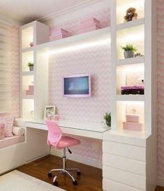 Teen girl bedroom ideas – Home Decor Designs Cute Bedroom Ideas, Girl Bedroom Designs, Room Ideas For Girls, Awesome Bedrooms, Home Bedroom, Bedroom Decor, Decor Room, Bedroom Lighting, Bedroom Themes