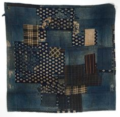Japanese Textiles Boro (Futon Cover), Pre-WWII Indigo dye, sashiko stitching/cotton