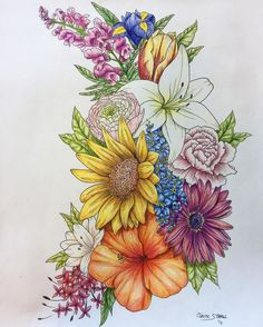 Flowers Drawings : Glad Brittany Bazemore asked me to add color to this piece! It turned out gorgeo… Small Forearm Tattoos, Fake Tattoos, Body Art Tattoos, Sleeve Tattoos, Tatoos, Female Forearm Tattoo, Chest Tattoo Female Upper, Small Tattoo, Tattoo Girls