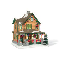 $45.00-$45.00 If you were enchanted by the magical movie Christmas Story, you will love this replica of Ralphies House to add to your holiday décor. Every window is ablaze with light that shines out on the stone fence pillars with their potted pine trees and brilliant red bows. There is a wreath on the door, one on the window, and a whole string of colored lights along the eaves that say this ho ...
