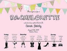 Pretty Pink Timeline Bachelorette Party Invited - perfect for a day or a whole weekend! Keep your guests informed with a basic timeline itinerary, information regarding what to bring, what to pay, and how to RSVP. All of the essentials for a perfect start to a perfect bachelorette weekend for your bride-to-be! Find it here:  https://www.etsy.com/listing/190771384/beautiful-bachelorette-invite-with?ref=shop_home_feat_4