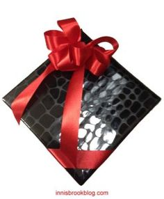 Black Crocodile Paper + Red Ribbon = Sophisticated Valentine's Day Present.  @Valentines