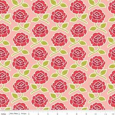 Farm Girl Rose Trellis Pink Yardage by October Afternoon for Riley Blake Designs Rose Trellis, Pink October, October Afternoon, Fabric Roses, Vintage Farm, Pink Kids, Cute Backgrounds, Different Flowers, Riley Blake