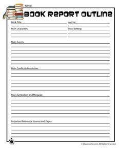 5th Grade Book Report Printables   Printable Book Report Forms Book Report Outline Form for Older Readers ...