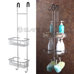 Over Door Double Shelf Hanging Basket Shower Caddy U2013 Model No. Awesome Over  The Door Shower Shelves For Soap And Shampoo.