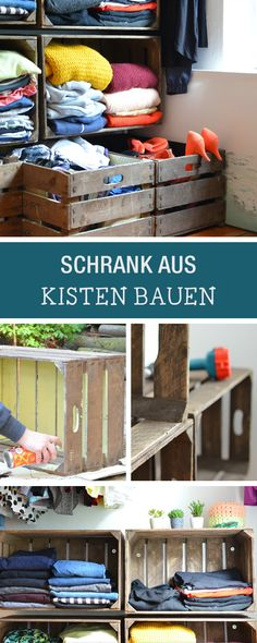 DIY-Anleitung: Kleiderschrank aus alten Obstkisten bauen, Regal aus Weinkisten / DIY-tutorial: building a dresser out of old fruit boxes, shelf made of wine boxes via DaWanda.com