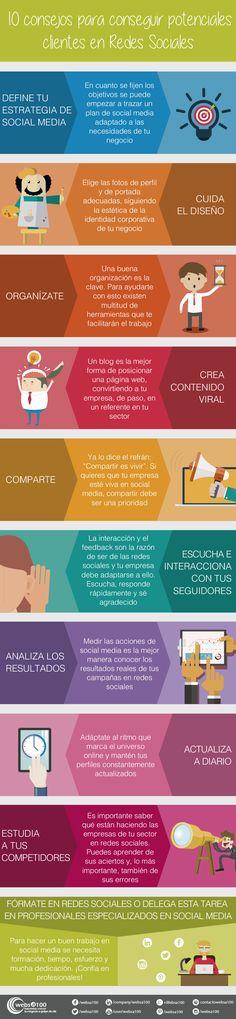 10 consejos para conseguir potenciales clientes en redes sociales. Infografía en español. #CommunityManager