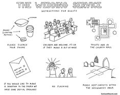 The wedding service - instructions for guests. Wedding cartoon by cartoonist Dave Walker. Licences available for reuse of this picture, and see the rest of the website for many more church cartoons. Funeral, Cartoon, Weddings, Children, Engineer Cartoon, Kids, Mariage, Cartoons, Wedding