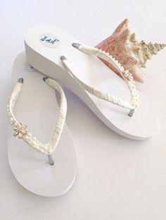 ca0be86beda5 Bridal Flip Flops Wedges.Wedding Shoes.Wedding Sandals.Beach Wedding Shoes.