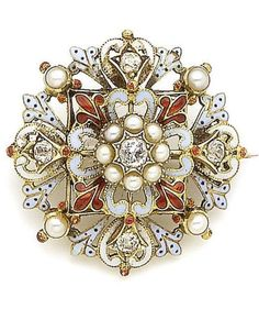 A Renaissance Revival enamel, diamond and seed pearl brooch, circa 1870. Set to the centre with a seed pearl and old brilliant-cut diamond cluster to a tiered surround of stylised scroll and fleur-de-lys motifs rendered in blue, white, red and blue spotted enamel and highlighted with old brilliant-cut diamonds and half pearls. Diameter 3.2cm. #RenaissanceRevival #brooch