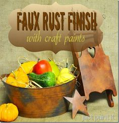 make any surface look like aged rust with a few craft paints! Great accents for Fall.