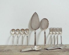DESSERT FLATWARE CUTLERY - sixties italian cutlery, modern design, cake shovels little forks and spoons, mid century design, made in Italy  Modern