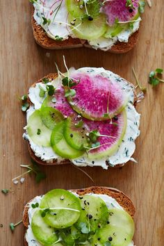Herbed Goat Cheese and Watermelon Radish Tartines / Morning Meals