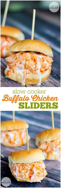 Slow Cooker Buffalo Chicken Sliders - tender chicken seasoned with Frank's wing sauce and topped with Ranch dressing. I don't like buffalo but it was good when you added sandwich fixings. Slow Cooker Recipes, Crockpot Recipes, Cooking Recipes, Slow Cooker Appetizers, Grilling Recipes, Slow Cooking, Buffalo Chicken Sliders, Beef Sliders, Crockpot Chicken Buffalo