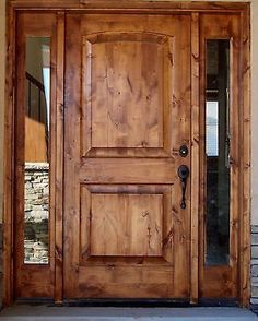 Tuscany Design Knotty Alder Front Entry Solid Wood Door With 2 Sidelights