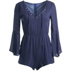 Sans Souci Bell sleeve lace up romper ($49) ❤ liked on Polyvore featuring jumpsuits, rompers, dresses, playsuits, jumpers, blue, navy, navy blue romper, blue rompers and playsuit romper