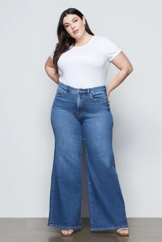 GOOD WAIST PALAZZO | BLUE451 – GOOD AMERICAN International Shopping, Recycled Fabric, Long Legs, Stretch Jeans, Shapewear, Palazzo, Bell Bottom Jeans, Sexy, Cotton