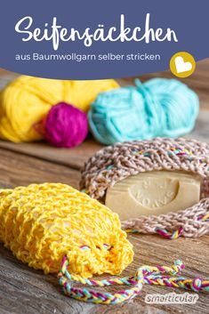 Knitting soap bags out of cotton yarn: Sustainable and Seifensäckchen stricken aus Baumwollgarn: Nachhaltig und vielseitig verwendbar Knit soap bags: Just make it yourself from cotton yarn - Diy Jewelry To Sell, Diy Jewelry Holder, Diy Jewelry Making, Hand Knitting, Knitting Patterns, Glasses For Your Face Shape, Diy Jewelry Inspiration, String Bag, Handmade Soaps