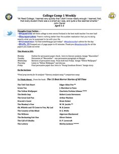 Weekly syllabus (page one) for the first week of fourth quarter.