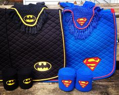 Batman Logo Embroidered Set Saddle Pad, Polo Wraps and Fly Bonnet (A/P or Dressage)