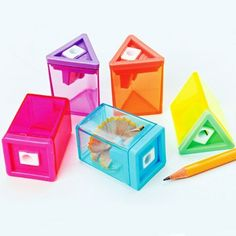 """Neon Pencil Sharpeners (1 Dozen) - Bulk by US. $14.99. Made of plastic. Size 2 in. T.. Assorted shapes and colors. Ages 8+. Also keep your pencil sharp with this neon pencil sharpener. This pencil sharpener is a great addition to your school or office supplies. Assorted styles. Size 2"""" T."""