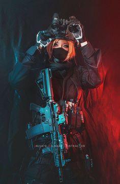 Fille Anime Cool, Cool Anime Girl, Anime Art Girl, Performance Kunst, Cyberpunk Girl, Female Soldier, Female Assassin, Military Women, Anime Military