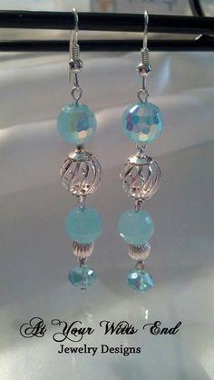 Blue Dangle Earrings sapphire earrings dangle by AtYourWittsEnd, $8.00