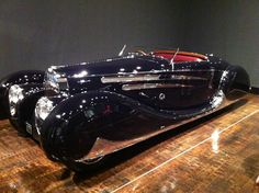 "From the Frist Center for the Visual Arts show, ""Senuous Steel: Art Deco Automobiles"" - the last Shah of Iran's 1939 Bugatti 57C."