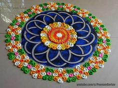 Beautiful and unique Rangoli - Design Innovative Rangoli designs by Poonam Borka . Easy Rangoli Designs Diwali, Rangoli Simple, Colorful Rangoli Designs, Rangoli Ideas, Rangoli Designs Images, Diwali Rangoli, Beautiful Rangoli Designs, Indian Rangoli, Rangoli Photos