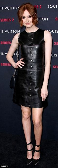 Sexing it up: Fellow British stars, Emilia Clarke (L) and Karen Gillan, also went for leat...
