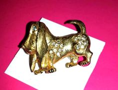 Vintage Pave Rhinestone Basset Hound Brooch,C M JENT, Hound Dog Brooch Dog Brooch,Rhinestone Brooch,Rhinetson Pin,Gold Tone,Basset Hound by JunkYardBlonde on Etsy