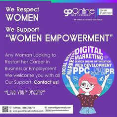 At GoOnline Web Solutions we favour Women Empowerment. Maximum of our team members are Women/Girls some of them are either fresh starters or Married Women trying to restart her career. We provide all support. Similarly women looking to focus on her talent and trying to show it to the world through Social Media or Google Campaigns can contact us for free consultation. Special pricing on our packages for Today are also available.  #happywomensday #womesday #happywomensday2019 #womenempowerment Married Woman, Team Member, To Focus, Web Development, Looking For Women, Women Empowerment, Starters, Digital Marketing, Favors