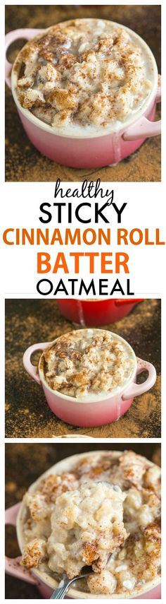 Sticky Cinnamon Roll Batter Oatmeal- Healthy yet this tasting EXACTLY like cinnamon roll batter!