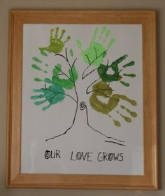 Our Love Grows tree print. Family Art Projects, Family Crafts, Family Hand Prints, Family Tree Photo, Family Trees, Hand Print Tree, Art Nouveau, Tree Outline, Jewish Crafts