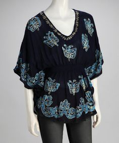 Take a look at this Navy Embroidered Boho Cape-Sleeve Top by Shoreline Wear on #zulily today!
