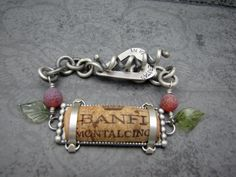 RESERVED  Sterling Silver and Fine Wine Cork Bracelet -Reserved for Tammy
