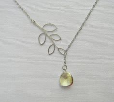 Lariat Necklace  Silver Leaf and Yellow Czech Glass  by DanaCastle, $27.00