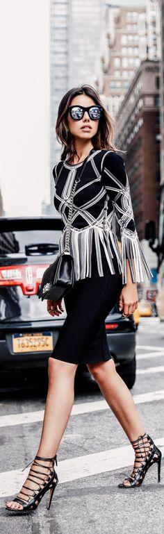Herve Leger Street Style ~ Black + White with fringe trim
