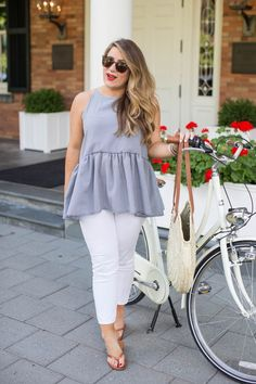 Summer outfit idea - white jeans with a ruffle peplum top