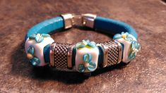 Regaliz Bracelet, Genuine Turquoise Leather with Handmade White Lampwork Beads decorated with Turquoise flowers Tiny Necklace, Glass Necklace, Turquoise Flowers, Handmade Beads, Lampwork Beads, Gifts For Women, Cuff Bracelets, Cuffs, Leather