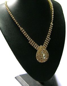 Vintage Necklaces  Vintage Gold with Clear Crystal by SwankyJewels