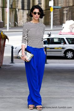 yasmin sewell - black & white stripes with royal blue pants White Outfits, Cool Outfits, Modest Fashion, Fashion Outfits, Fashion Women, Royal Blue Pants, Fashion Gallery, Spring Summer Fashion, Winter Fashion