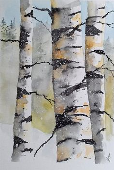 This is an Art Specific and Friendly DPW Auction. Birch Trees Painting, Tree Watercolor Painting, Birch Tree Art, Watercolor Projects, Watercolor Landscape Paintings, Watercolor And Ink, Mural Floral, Small Canvas Art, Fine Art Auctions