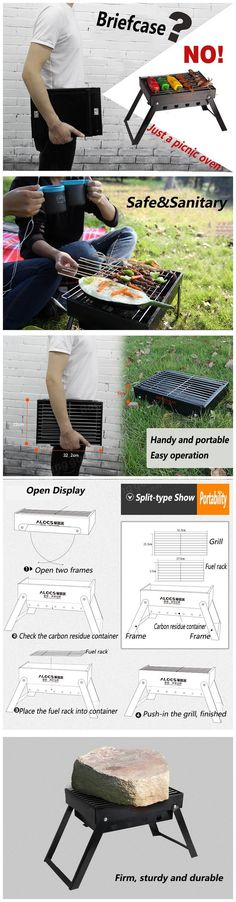 Only buy best alocs outdoor picnic bbq oven charcoal furnace folding barbecue grill portable charbroiler camping hiking sale online store at wholesale price. Best Smoker Grill, Barbecue Grill, Barbecue Recipes, Built In Grill, Outdoor Kitchen Design, Camping And Hiking, New Builds, How To Find Out, Grilling Tips