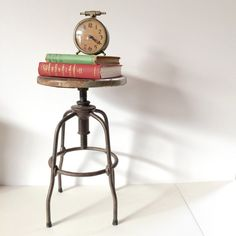 Industrial Drafting Stool, Metal and Iron and Steel Vintage Stool, Steampunk