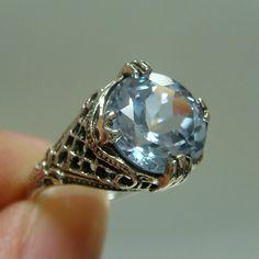 Aquamarine Filigree Sterling Silver 925 Ring by goldandgemsllc, $89.00