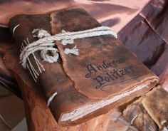 Medieval look personalized leather journal blank book with brown craft paper. $175,00, via Etsy.