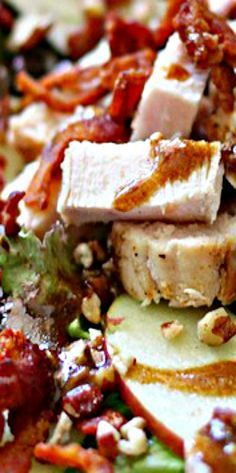 Apple, Bacon, Pecan and Chicken Salad with Garlic Balsamic Dressing ❊