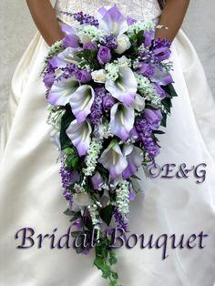 Beautiful Angie Purple Wedding Bouquets Bouquet Bridal Flowers Groom Silk Love | eBay