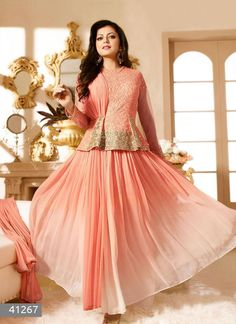 Product code  41267   Peach Embroidered Glorious Designer Suit